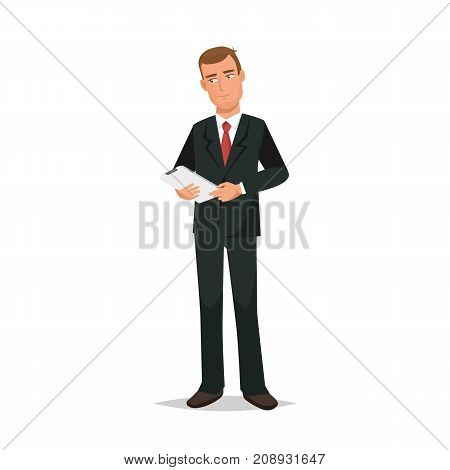 Businessman working cartoon character person in different situations. Man, office worker in office clothes, in business suit with tablet in hands. Remote work, control workflow. Vector illustration.