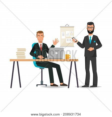 Businessman working cartoon character person in different situations. Man, office worker in office clothes, with office table. Talking with colleague working board, teamwork, team building management. Vector illustration.