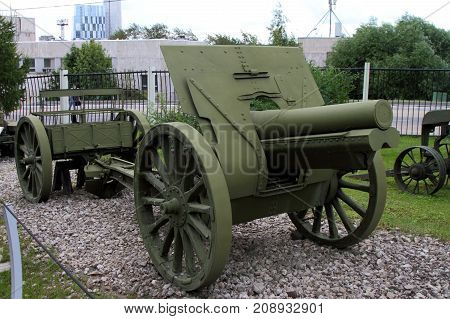 Moscow Russia - July 19 2017: 122-mm Howitzer sample of 1910/30 (USSR) on grounds of weaponry exhibition in Victory Park at Poklonnaya Hill.