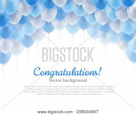 Congratulation banner blue flying balls background above. Congratulation banner with blue flying balls background from above. Balls backdrop as a vector illustration