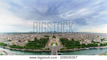 Panoramic image of beautiful cityscape of Paris viewing Palais de Chaillot from The Eiffel Tower France