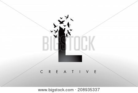 L Logo Letter With Flock Of Birds Flying And Disintegrating From The Letter.