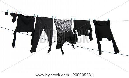 shirts on washing line. A close up