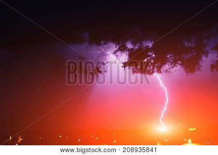 Strong Thunderstorm With Lightning Over The City