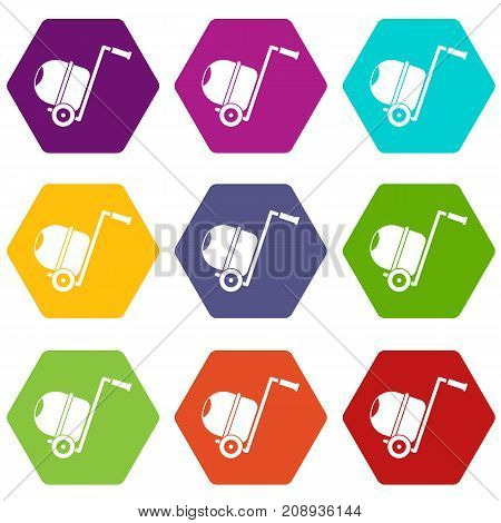 Concrete mixer icon set many color hexahedron isolated on white vector illustration