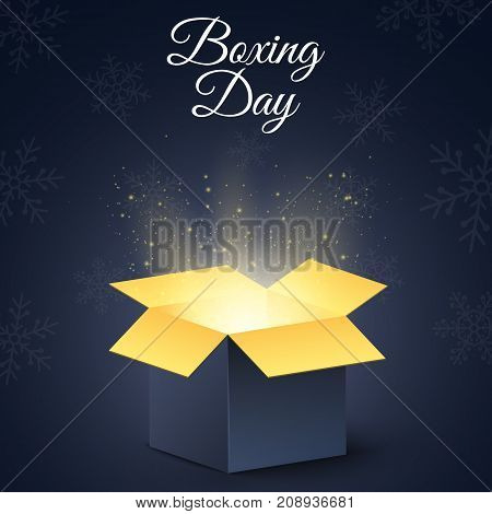 Happy boxing day. A dark golden magic box. Christmas mysterious gift. New Year's snowflakes. Poster for sale. Vector illustration