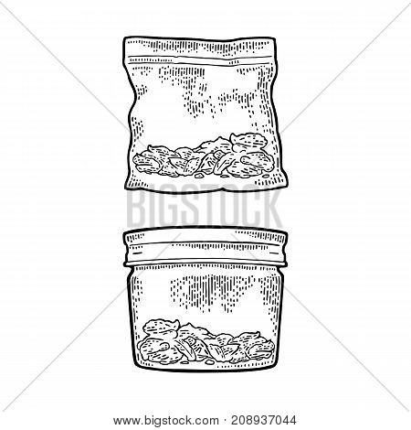 Glass jar with lid and plastic bag for smoking cannabis. Hand drawn design element. Vintage black vector engraving illustration for label, poster, web. Isolated on white background