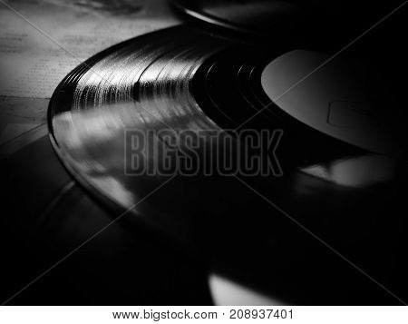 Vinyl records collection wallpaper background old gramophone vintage retro rarity style closeup needle song music time melody generation