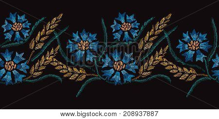 Elegant seamless pattern with hand drawn decorative cornflowers and wheat design elements. Floral pattern for invitations cards wallpapers print gift wrap manufacturing fabrics.Embroidery style