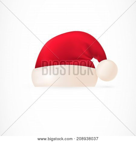Santa hat with pompom. Garment, culture, character, accessory. Christmas concept. Can be used for greeting cards, posters, leaflets and brochure
