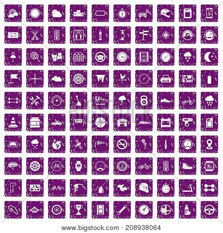 100 motorsport icons set in grunge style purple color isolated on white background vector illustration