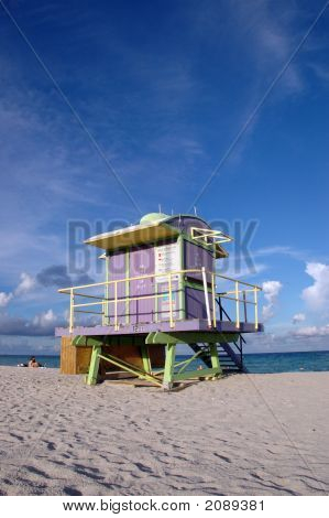 Purple And Yellow Lifeguard Tower In South Beach