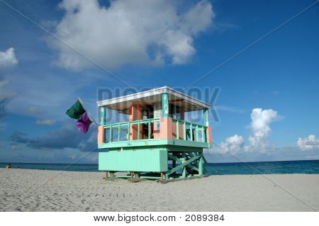 Blue And Pink Lifeguard Tower In South Beach