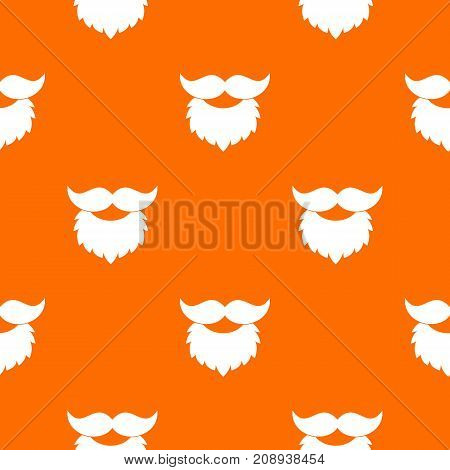Beard and mustache pattern repeat seamless in orange color for any design. Vector geometric illustration