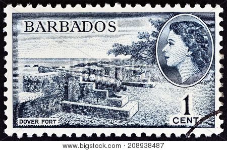 BARBADOS - CIRCA 1953: A stamp printed in Barbados shows Dover Fort and Queen Elizabeth II, circa 1953.