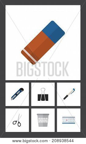 Flat Icon Stationery Set Of Pencil, Rubber, Trashcan And Other Vector Objects