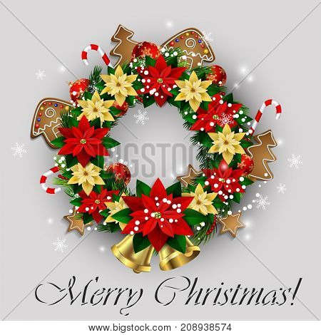 White card with Christmas wreath and bow and bells isolated on white background with poinsettia