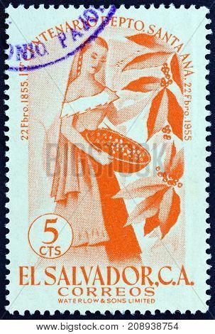 EL SALVADOR - CIRCA 1956: A stamp printed in El Salvador from the