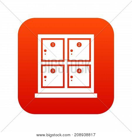 Cells for storage in the supermarket icon digital red for any design isolated on white vector illustration