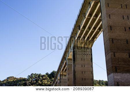 Under the bridge view. Concrete structure. Spain.