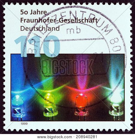 GERMANY - CIRCA 1999: A stamp printed in Germany issued for the 50th anniversary of Fraunhofer Society (for applied research) shows coloured diodes, circa 1999.