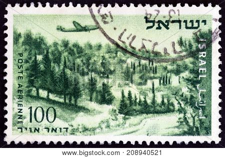 ISRAEL - CIRCA 1953: A stamp printed in Israel shows Shaar Hogay on road to Jerusalem, circa 1953.