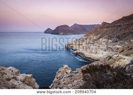 Coastline in the Cabo de Gata Natural Park at the blue hour, Andalusia Spain