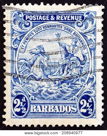 BARBADOS - CIRCA 1925: A stamp printed in Barbados shows Colonial Seal, circa 1925.