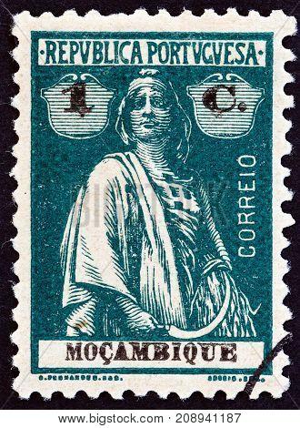 MOZAMBIQUE - CIRCA 1914: A stamp printed in Mozambique shows Ceres, circa 1914.
