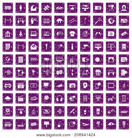 100 multimedia icons set in grunge style purple color isolated on white background vector illustration