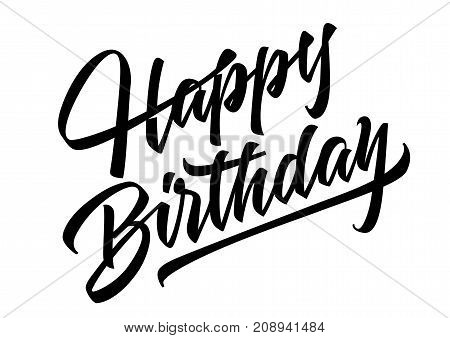 Happy Birthday lettering and design element. Handwritten text, calligraphy. For greeting cards, posters, leaflets and brochure.
