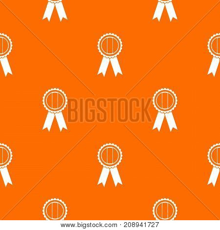 Rosette pattern repeat seamless in orange color for any design. Vector geometric illustration