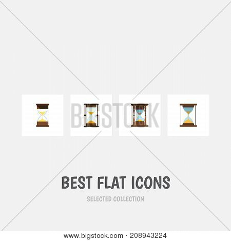 Flat Icon Hourglass Set Of Measurement, Minute Measuring, Instrument And Other Vector Objects