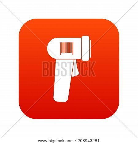 Barcode scanner icon digital red for any design isolated on white vector illustration