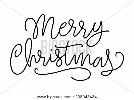 Merry Christmas lettering. New Year Day design element. Handwritten text, calligraphy. For greeting cards, posters, leaflets and brochure.