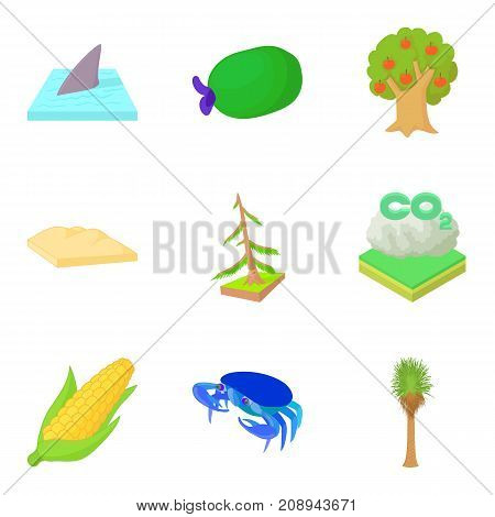 Greenhouse effect icons set. Cartoon set of 9 greenhouse effect vector icons for web isolated on white background