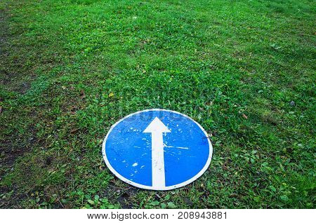Ahead Only, Round Blue Road Sign, Concept