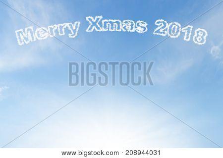 Merry xmas 2018 cloud and sunshine on blue sky