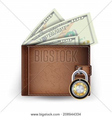 Realistic Classic Wallet Vector. Locked With Padlock. Money. Top View. Finance Secure Concept. Isolated On White Background Illustration