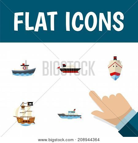 Flat Icon Vessel Set Of Cargo, Delivery, Transport And Other Vector Objects