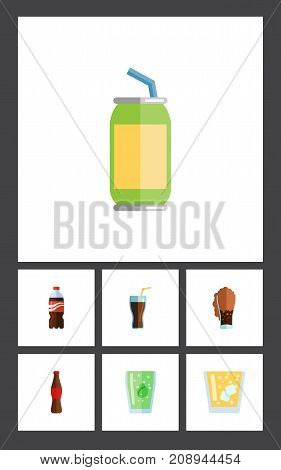 Flat Icon Soda Set Of Soda, Lemonade, Drink And Other Vector Objects