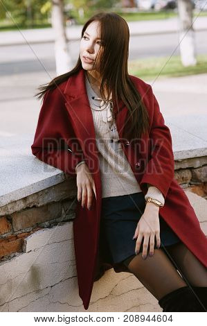 Young Beautiful Stylish Woman In Claret Coat, Street Style, Spring Summer Trend, Dark Skirt, Beige S