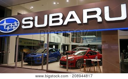 Sydney Australia - October 15 2017: Subaru automobile dealership on Forbes Street. Subaru is the automobile manufacturing division of Japanese transportation conglomerate Subaru Corporation.