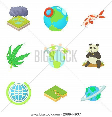Green planet icons set. Cartoon set of 9 green planet vector icons for web isolated on white background