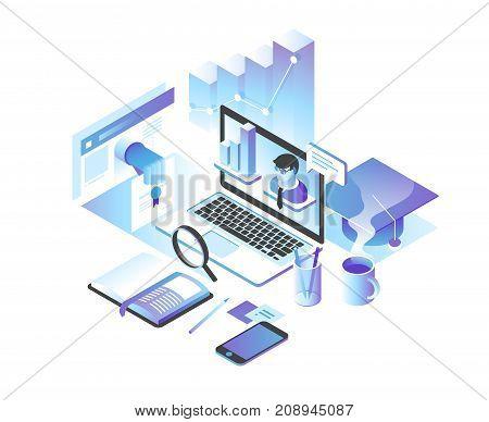 Online education concept.  training courses, specialization, tutorials. 3d isometric illustration