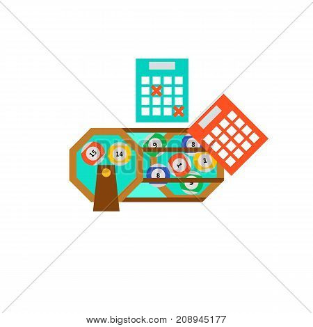 Vector icon of lottery balls and tickets. Luck, success, gambling. Table games concept. Can be used for topics like hobby, leisure, entertainment