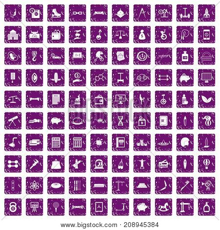 100 balance icons set in grunge style purple color isolated on white background vector illustration