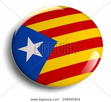 Catalonia flag badge isolated icon. Clipping path included for easy selection.