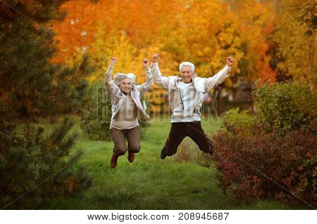 Amusing happy smiling old couple on yellow autumn park background
