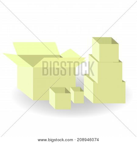 Paper boxes set isolated on white background